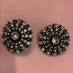Gorgeous black and silver w/ pave CZ earrings